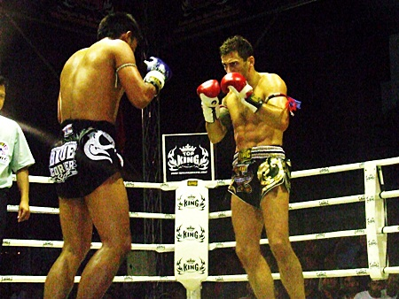 Wakeling, right, faces Thailand's WBC Muaythai world champion Jaowchalam Chatkranokgym in the third round of their fight at the Tip Plaza Complex in Pattaya, Saturday, Jan. 8.