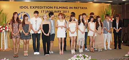 "Approximately 20 well-known Korean pop stars joined to shoot the ""Idol Expedition"" New Year show."