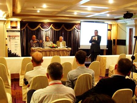 The panel of Dr Ian Fenwick, David Armstrong and Gareth Marshall address the audience.