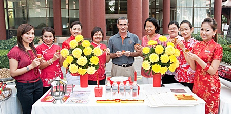 Pullman Pattaya Aisawan welcomes the Chinese New Year with a ceremony led by Operations Manager Serge Rigodin (centre), along with hotel executives and staff to pray for good luck in the year of the Rabbit, and to show gratitude for all the good things received in the past year.