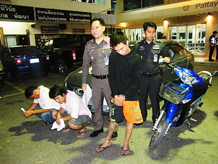 """Pichet """"Turn"""" Mukdadilok, Jittiwat """"Taey"""" Ruenarom, and Sanya Peungpo are taken into custody for motorcycle theft and drugs possession."""