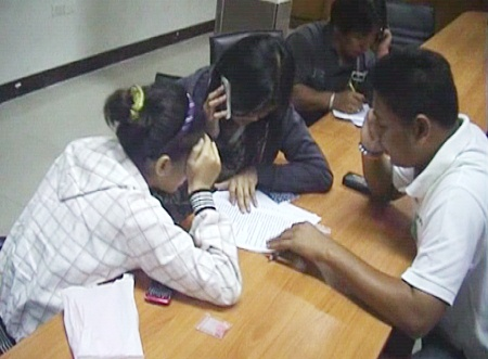 The two alleged female drug dealers are charged at Pattaya Police Station.