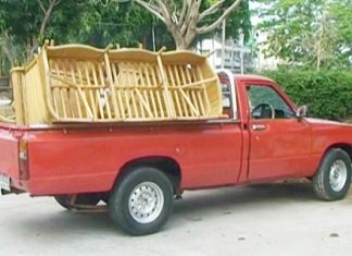The detained pick-up truck with the rattan chairs on board.