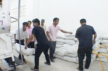 The large quantity of rice was donated by a number of good hearted sponsors.
