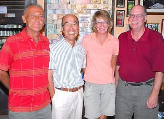 Flight winners Mashi Kaneta and Carole Kubicki, center, with Brian Gabe and Jack Robertson.