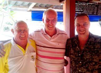Two of Monday's birthday boys, Capt' Bob & Neil, flank Friday's Div. D winner, David Davies
