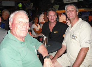 Peter Habgood (right) celebrates his win at Century Chonburi with Reg (left) and Heath (behind).