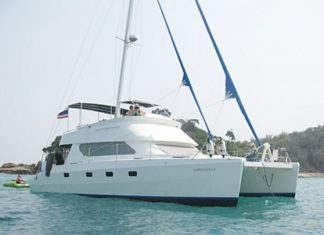 The 40ft catamaran chartered by the Pattaya Bluewater Sailing Club.