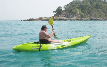 Enjoying a paddle out to the island.
