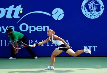 Errani scrambles to chase down a cross court forehand from Hantuchova.