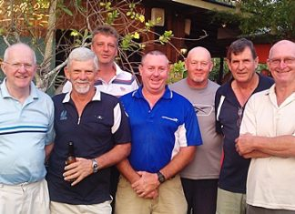 (From left to right): Vin Connellan, Colin Oliver, Jan Thorsberg, Murray Hart, Doug Campbell, Rick Forrest and Sid Ottaway.