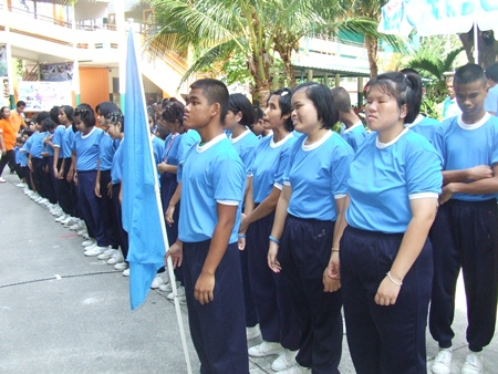The blue team lines up for the opening parade.