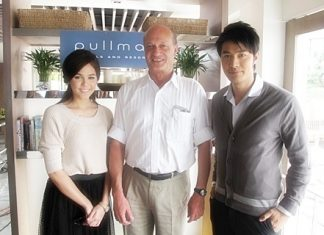 "Philippe Delaloye (centre), General Manager of the Pullman Pattaya Aisawan was thrilled to welcome Chompoo Araya A. Hargate (left) and Aun Wittaya Wasukraipaisarn (right) two famous Thai movie stars to the resort for a film shoot recently. The thespians co-star in a new TV drama called ""Dok Som See Thong"" that will be aired on TV Channel 3 shortly."