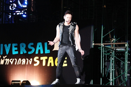 Rain, the magnetic Korean superstar belts out one of his numbers to his hordes of fans at the Universal Stage.