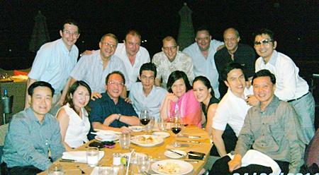 Happy faces during dinner (seated L to R) Somkhit Tonsaiphet (GM Zign Hotel), Rungthip Suksrikarn (VP Sunbeam Hotels), Chatchawal Supachayanont (GM Dusit Thani Pattaya), Sanpech Supabowornsthian (GM of Long Beach Garden Hotel & Spa), Bundarik Kusolvitya (MD The City Hotel Sriracha), Alisa Phanthusak (Asst. MD Woodlands Resort), Natthasith Wijitwikrom (Assistant MD Mountain Beach Hotel), and Nijjaporn Marprasert (GM Siam Bayview Hotel). (Standing L to R) Michael Ganster (GM Dusit D2 Baraquda Pattaya), Andre Brulhart (GM Centara Mirage Resort), Rene Pisters (GM Thai Garden Resort), Harald Feurstein (GM Hilton Pattaya), Michael Procher (GM of Nova Suites, Nova Platinum & Nova Gold), Philippe Delaloye (GM Pullman Pattaya Aisawan) and Prayuth Thamdhum (GM Montien Hotel Pattaya).
