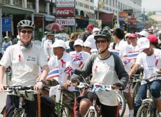 Catherine and Liz leave the Camel Pub followed by dozens of well-wishers on the last leg of their epic journey.