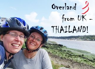Cyclists Catherine and Liz are cycling from London to Thailand to raise money for charity.