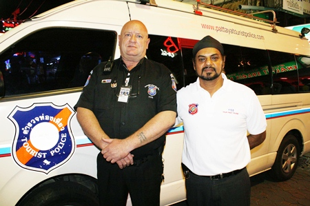 David Stuart (left) and Sukhras Kalra (right) give their time to ensure a safer Pattaya.
