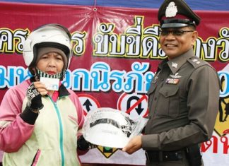 Those obeying the traffic laws receive a free helmet.