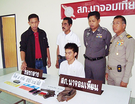 """Narit """"Nat Jomtien"""" Sawang has been arrested and charged with possession of illegal weapons and Class 1 narcotics with intent to sell."""