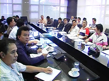 Officials attend the meeting held to discuss bar opening times in Pattaya.
