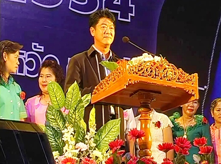 Chonburi Gov. Wichit Chatpaisit presides over the International Women's Day festivities, Saturday, March 5.