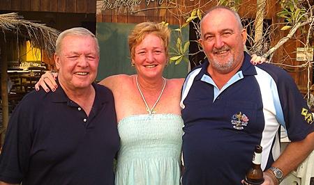 Joe Mooneyham (Div A winner) on Friday celebrates with Suzi Lawton (Div B runner-up) and John Lawton (Div C winner).
