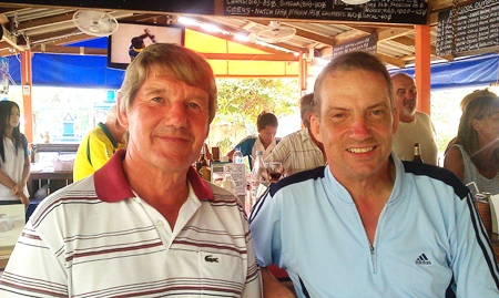 Tuesday's Div A and B winners, David Day and Dennis Persson, relax after their respective victories.