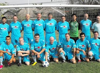 FC Nova line up before their match against Sportsman FC in Bangkok last Saturday.