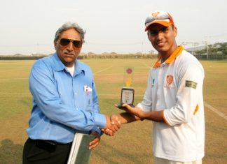 Pattaya Cricket Club's Sunny Hanif, right, receives his Man of the Match award after his fine all round display against AIT Elite.