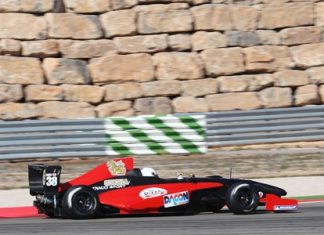 Sandy Stuvik drives his Formula Renault car during testing at the Motorland Aragon Circuit in Spain on March 7, 2011.