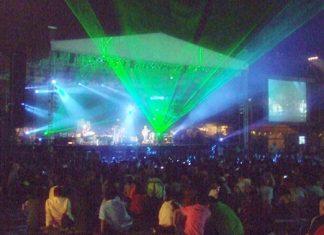 The spectacular Kitaro sound and light show illuminated the Silverlake amphitheater.