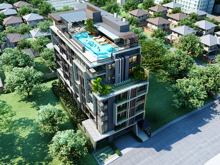 An artist's render shows the completed Sixty-Six Condominium building.