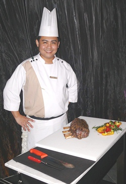 Hilton chef and Tomahawk steak.