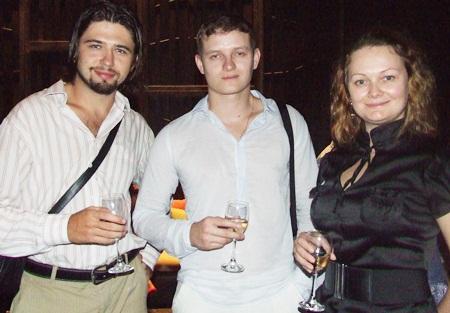 Nick Pesegov, Eduard Artemyev with the charming Olga Sannikova.