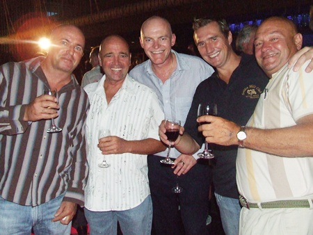 The rustic five, Carey Archer, Joss Watkins, Captain Peter Coy, Peter Nygård and Michael Guin.
