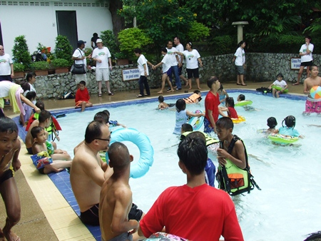 Many took a refreshing dip in the pool before lunch.