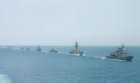 Part of Thailand's naval fleet underway in formation during naval exercises in the Gulf of Thailand last week.