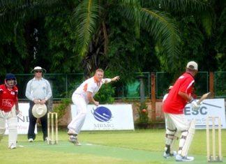 Pattaya Stallions take on Village CC in one of Friday's round-robin matches.