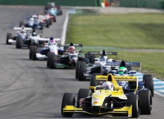 Sandy Stuvik leads the field of cars during qualifying on Saturday, April 9, at the Hockenheim race circuit in Germany.