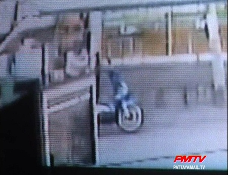 CCTV images show the Ladyboy making her escape