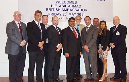The sponsors gather for a group photograph with HE Asif Ahmad (centre). (l-r) Paul Millar, CEO Boots Retail, Andy Harrison, Headmaster St Andrew's International School Rayong, Simon Matthews, CEO Manpower Thailand, Andrew Apperley, Joint CEO Caelan Wright Asia, H.E. Asif Ahmad, British Ambassador, Chris Thatcher, Vice Chairman BCCT, Mark Manolas, Joint CEO Caelan Wright Asia, Kevin Fisher, CEO CEA Thailand, Patchararacht Tanasetpiwt 'Jack', Manager of CES Cranes & Equipment Services, representatives for Cromwell Tools and Soft Sling on the Eastern Sea Board and Graham Macdonald, Chairman BCCT.