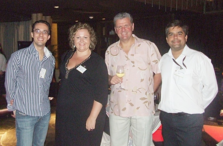 Hilton Pattaya's Elwin Kemming, director of sales, and Peta Ruiter, director of business development, share thoughts with Centara's senior vice president of sales & marketing Chris Bailey and Pattaya Mail's asst managing director Tony Malhotra.