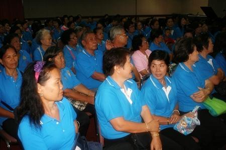 Pattaya's senior citizens gather to hear plans for their upcoming trip to Sakon Nakhon.