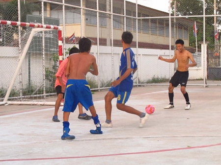 Despite his condition, Saming Thongsupan is a regular fixture on the football pitches at the Taothan and Thepprasit temples.