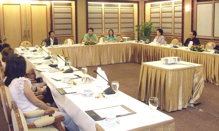 The Pattaya Tourist Support Fund (PTSF) committee meets at the Royal Cliff Hotel to update the public on the progress of the fund.