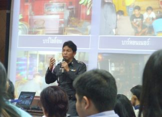 Pol. Col. Chalit Ketsrimet, superintendent of the Kuiburi Police Station, provides background on the trafficking industry and gives advice to teachers to pass on to students to keep them safe.