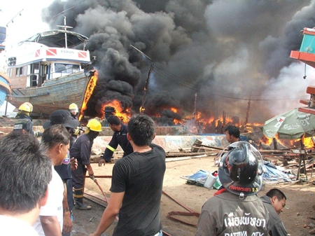 City officials have stepped in to offer assistance to those affected by this blaze at a Naklua boatyard last week.