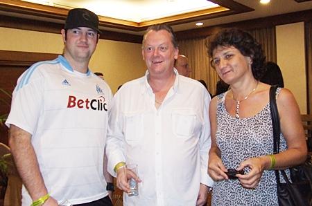 Ready for a refill (l-r) Todd Fox (REThai.com), Robert D Watson (Five Star Villas & Condos) and Miliza Ceh.