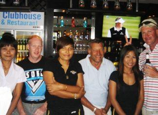 Friday's top three, Scott Dobbin, Alan Pilkington and Dave Done with Fairways club house staff.